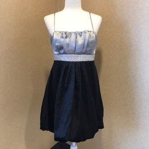 Silver and black bubble hem mini formal dress
